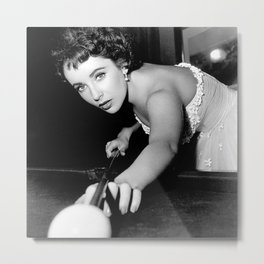 Elizabeth Taylor Shooting Pool Metal Print