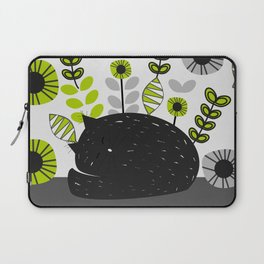 Sleepy cat and floral bouquet Laptop Sleeve