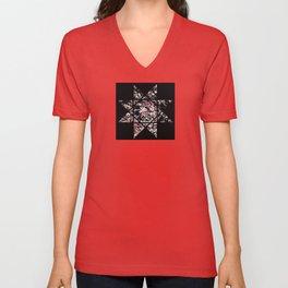 Star Of 8 - Black and white abstract, textured star design Unisex V-Neck