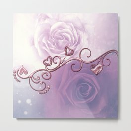 Beautiful violet roses with hearts Metal Print