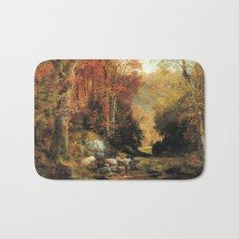 Cresheim Glen Wissahickon Autumn 1864 1 By Thomas Moran | Daytime Hike Watercolor Reproduction Bath Mat