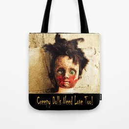 Creepy Doll Tote Bag