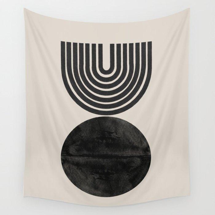 Woodblock Print, Modern Art Wall Tapestry