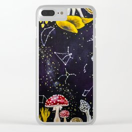 Mushrooms and Stars Clear iPhone Case
