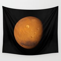 mars Wall Tapestries featuring Mars by Space99