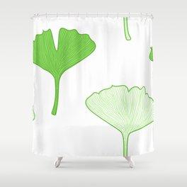 Seamless Gingko biloba leaves. Vector background Shower Curtain