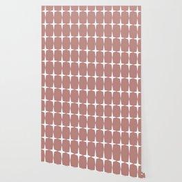 Atomic Age Starburst Pattern in 50s Pink and White. Minimalist Monochrome Mid-Century Modern Wallpaper