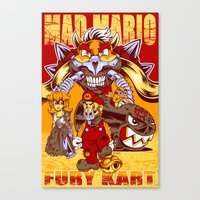 mario kart Canvas Prints featuring Mad Mario: Fury Kart by RynoArts