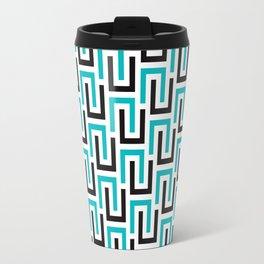 Geometric Pattern #194 (turquoise stripes) Travel Mug
