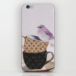 Bird in tea cup iPhone Skin