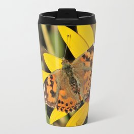 A Painted Lady Sunning on Desert Sunflower Travel Mug