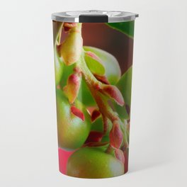 Green Berries Red Background #society6 #decor #buyart Travel Mug