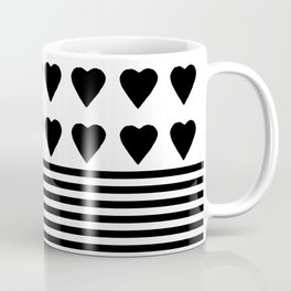 Heart Stripes Black on White Coffee Mug