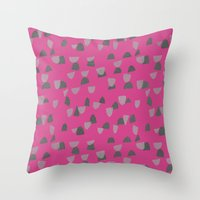 gray pattern Throw Pillows featuring Pink & Gray pattern by Georgiana Paraschiv