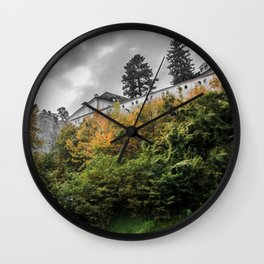 Cesky Krumlov Trees Wall Clock