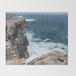 Cliffs off Dún Aonghasa Throw Blanket