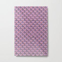 Pink Snake Skin mermaid scales Metal Print