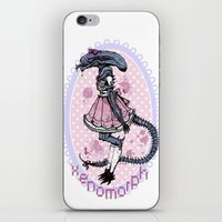 xenomorph iPhone & iPod Skins featuring Lolified Xenomorph by Mindful Merry