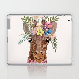 Giraffe with flowers on head Laptop & iPad Skin