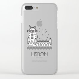Belém Tower Lisbon Portugal Black and White Clear iPhone Case