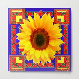 WESTERN BLUE-RED YELLOW SUNFLOWER FLORAL ART Metal Print