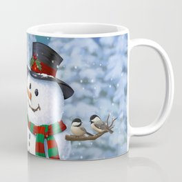 Cute Happy Christmas Snowman with Birds Coffee Mug