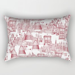 Doctor Who Toile de Jouy   'Walking Doodle'   Red Rectangular Pillow
