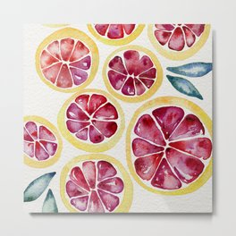 Sliced Grapefruits Watercolor Metal Print