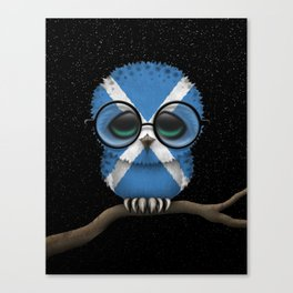 Baby Owl with Glasses and Scottish Flag Canvas Print