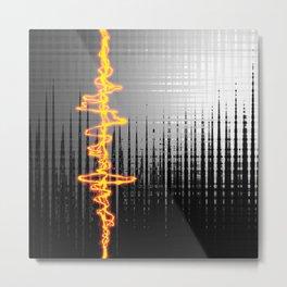 Sound Wave Grey Metal Print