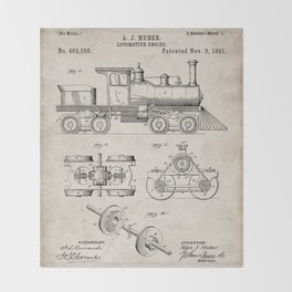 Train Locomotive Patent - Steam Train Art - Antique Throw Blanket