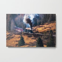 Emergence - Steam Train Emerges from Forest in Colorado Rocky Mountains Metal Print