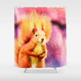 squirrel digital oil paint dopstd Shower Curtain