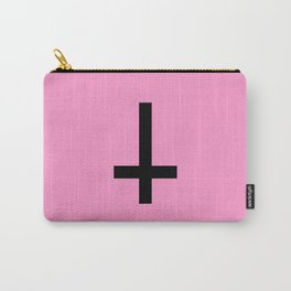 Inverted Cross on Pink Carry-All Pouch