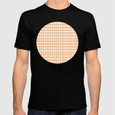 LINES in APRICOT Black Mens Fitted Tee MEDIUM