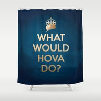 jay z Shower Curtains featuring What Would Hova Do? - Jay-Z by Luke Eckstein