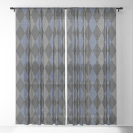 Blue Gray Rhombus Knitted Weaving Sheer Curtain