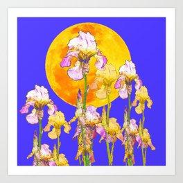 IRIS GARDEN & RISING GOLD MOON  DESIGN ART Art Print