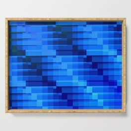 Buildings At Night In Blue Modern Abstract Serving Tray