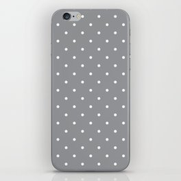 Small White Polka Dots with Grey Background iPhone Skin