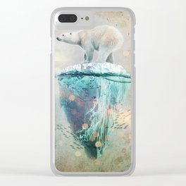 Polar Bear Adrift Clear iPhone Case