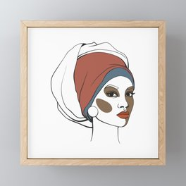 African American woman in headscarf with makeup. Abstract face. Fashion illustration Framed Mini Art Print