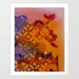 a piece of orange and purple Art Print