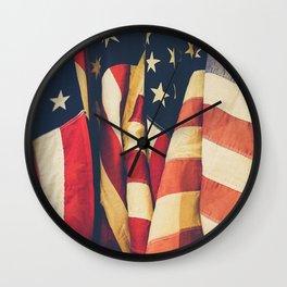 American flag 4 Wall Clock