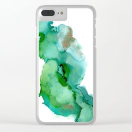 Alcohol Ink on yupo - Greens and Gold Clear iPhone Case