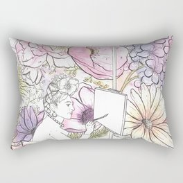 Open: Frida at her Easel (Color) Rectangular Pillow