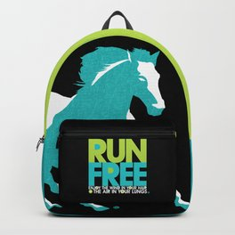 Run Free – Gallop (on Black) Inspirational Words Backpack