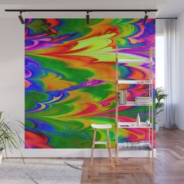 Abstract Ebru Multicolor Waves Piant Wall Mural