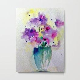 Colorful Bouquet Watercolor Flowers Metal Print