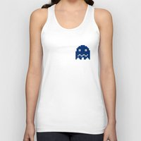 pac man Tank Tops featuring Pac-Man Blue Ghost by Psocy Shop